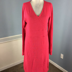 New Horny Toad L Hot PInk Knit dress long sleeve